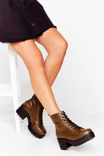 Khaki It's Lace-Up to You Faux Leather Chunky Boots