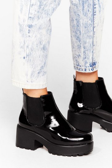 Black Your Place or Shine Faux Leather Chelsea Boots