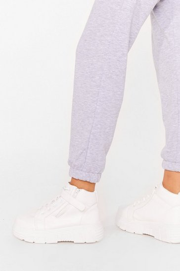 White Strap In Chunky Lace-Up Sneakers