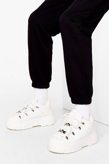 White Take a Hike Chunky Lace-Up Sneakers