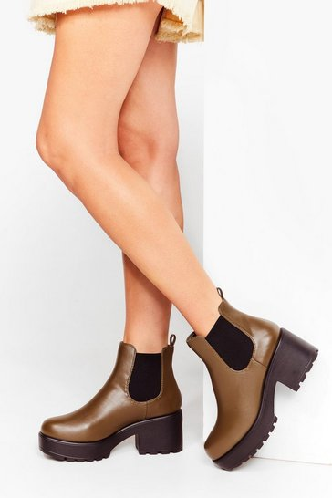 Khaki Roll With It Platform Ankle Boot
