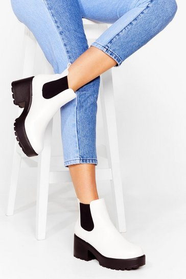 White Roll With It Platform Chunky Ankle Boot