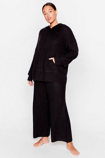 Black Knit's Your Time Plus Wide-Leg Trousers Lounge Set