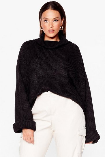 Black Get Over Knit Plus Turtleneck Sweater