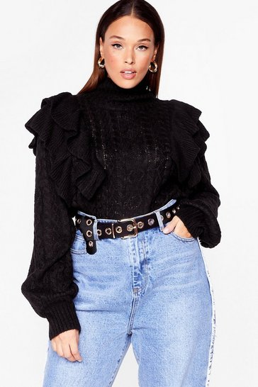 Black Let's Get Knit on Plus Turtleneck Ruffle Sweater