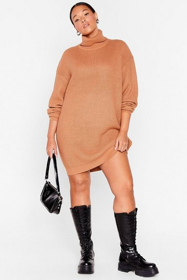 Taupe That's How We Roll Plus Sweater Dress