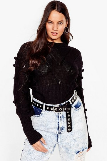 Black Such a Baller Plus Pom Pom Knit Sweater