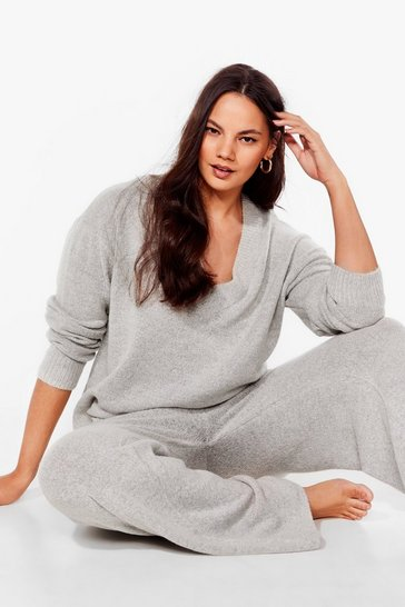 Grey Knit Pause Plus V-Neck Sweater and Pants Lounge Set