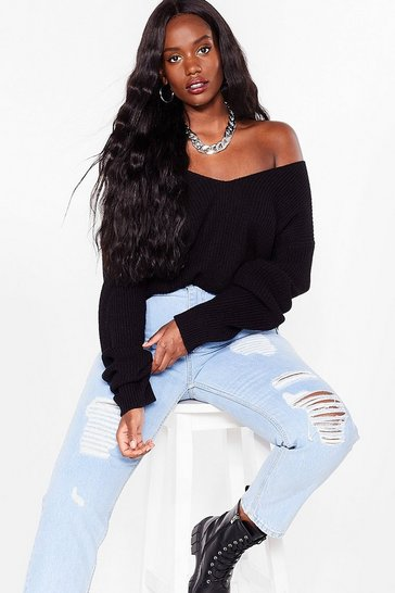 Black Now You V It Plus Knitted V-Neck Sweater