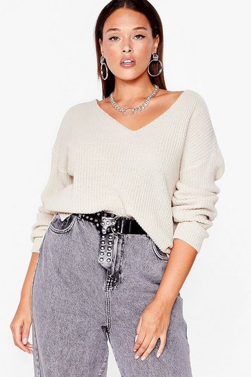 Oatmeal Now You V It Plus Knitted V-Neck Sweater