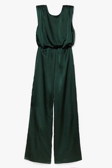 Green Final Credits Satin Wide-Leg Jumpsuit