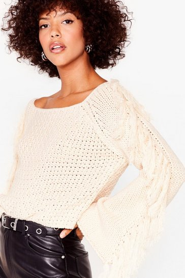 Cream Don't Wanna Miss a Fringe Knitted Cropped Sweater
