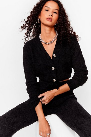 Black Fluffy Cropped V Neck Cardigan