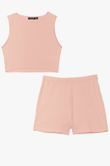 Blush Pairs Well Ribbed Crop Top and Shorts Set