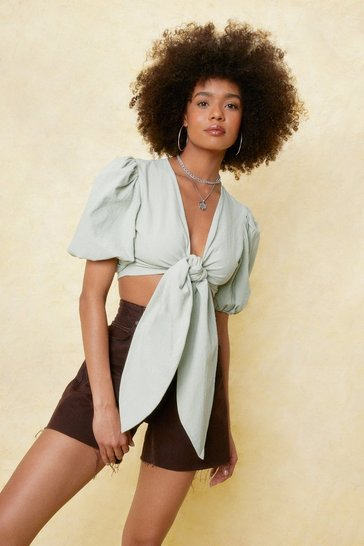 Sage Would You Puff Sleeve It Cropped Tie Blouse