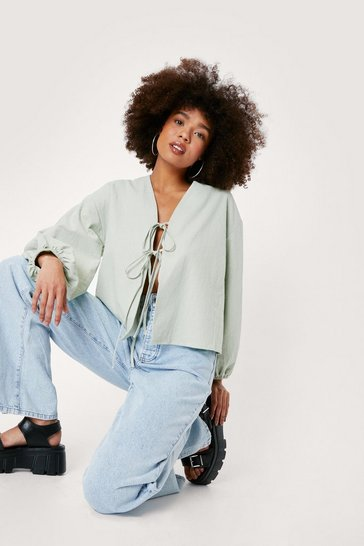 Tie Calling Us Later Linen Balloon Sleeve Blouse, Sage