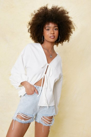White Tie Calling Us Later Linen Balloon Sleeve Blouse