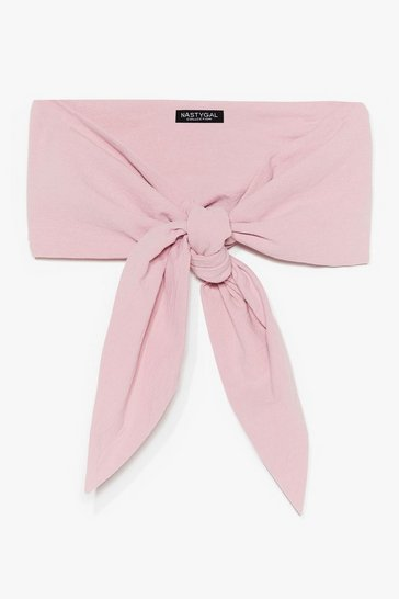 Pink What's the Hold Up Linen Bandeau Top