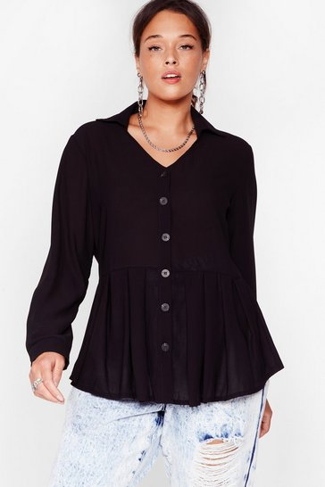 Black Button the Ball Plus Relaxed Top