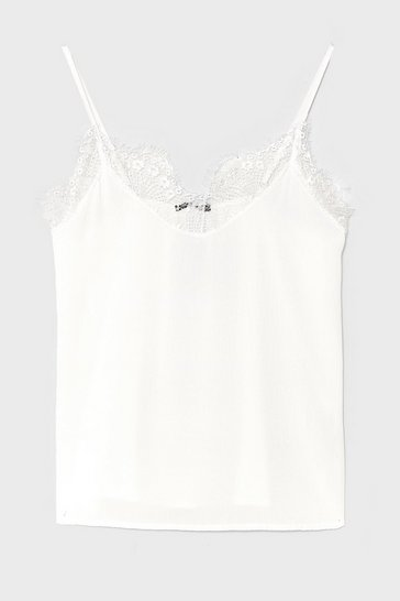 White Lace It Up to You Plus Cami Top