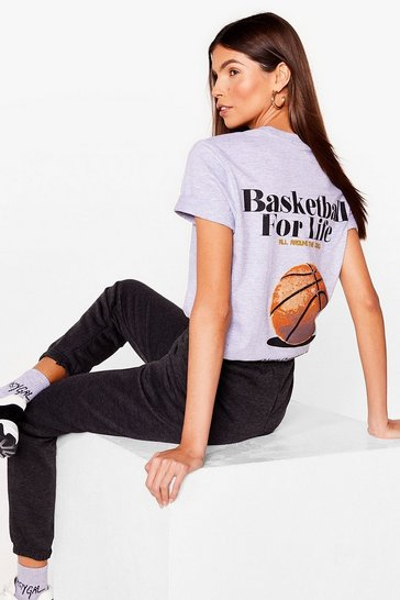 Grey marl Basketball for Life Graphic Longline Tee
