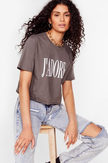 Charcoal J'Adore Graphic Crop Tee