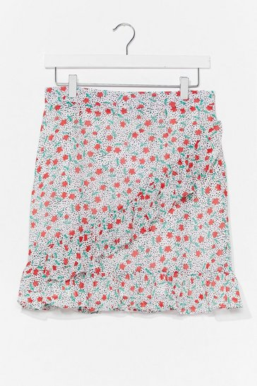 White Bud You Mind Floral Mini Skirt
