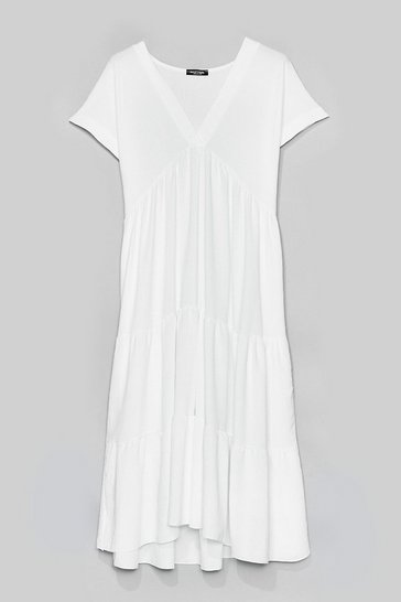 White Can't Smock Us Down Tiered Mini Dress