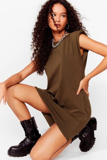 Khaki Shoulder Pad Case of Lovin' You Jersey Mini Dress