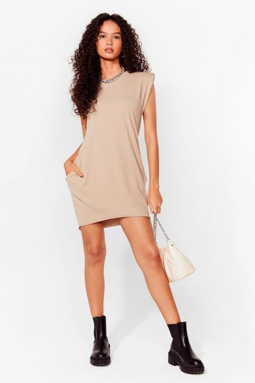 Stone Shoulder Pad Case of Lovin' You Jersey Mini Dress