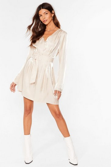 Champagne Shimmer on Over Belted Mini Dress
