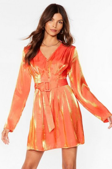 Orange Metallic Long Sleeve Belted Mini Dress