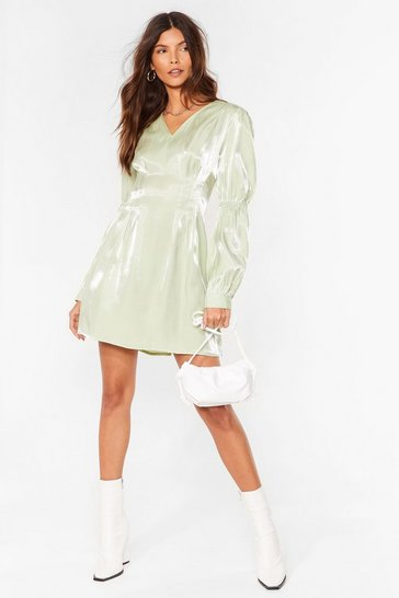 Sage Shimmer Over Here Mini Shirt Dress