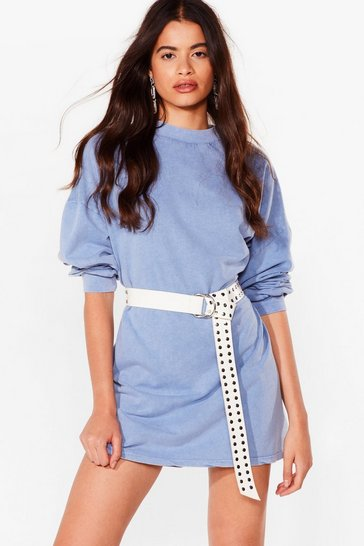 Dark blue Acid Wash on the Agenda Sweatshirt Mini Dress