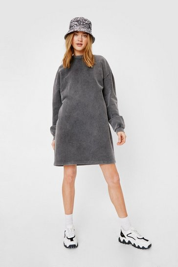 Grey Acid Wash on the Agenda Sweatshirt Mini Dress