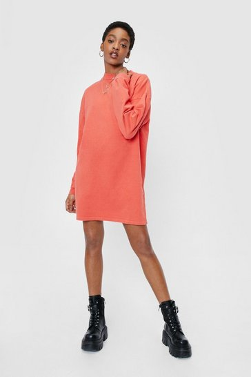 Orange Acid Wash on the Agenda Sweatshirt Mini Dress