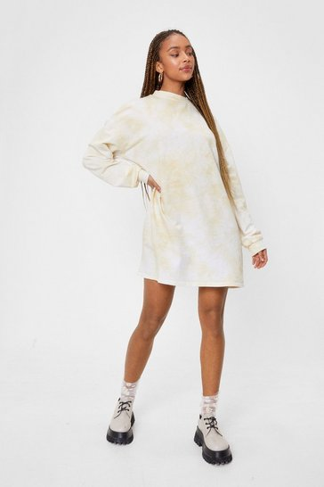 Sand Acid Wash on the Agenda Sweatshirt Mini Dress