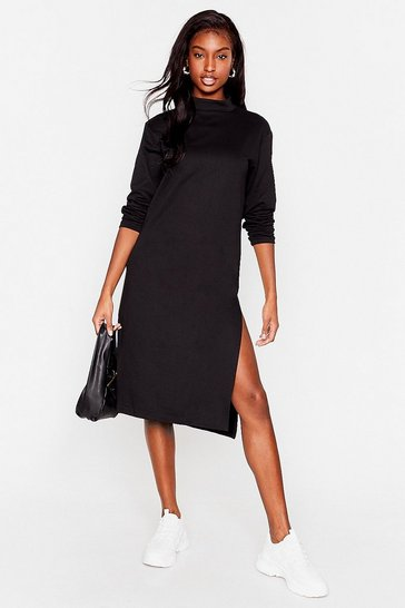 Black Stuck in the Midi High Neck Relaxed Dress
