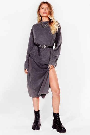 Grey Stuck in the Midi High Neck Relaxed Dress