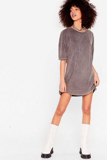 Grey Acid Wash the Record Tee Dress