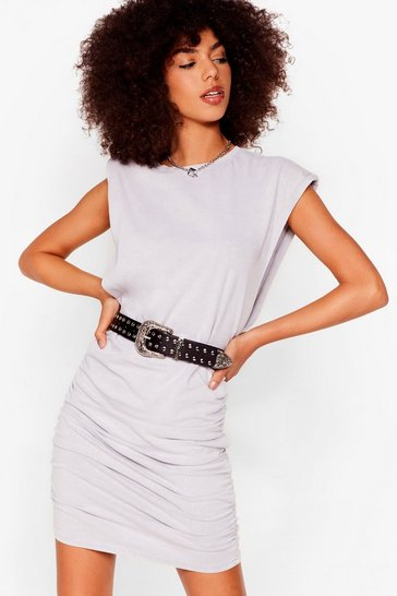 Grey Power of Love Ruched Mini Dress