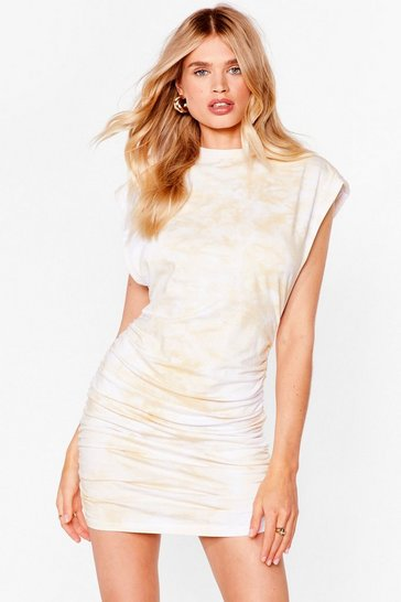 Sand Power of Love Ruched Mini Dress