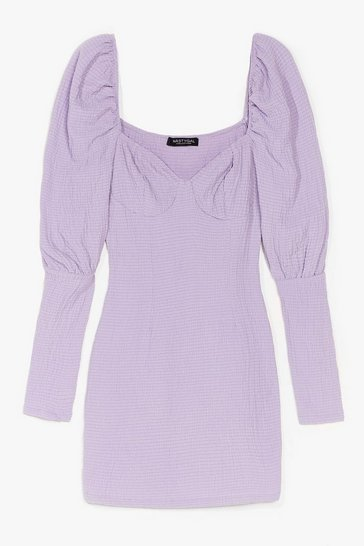 Lilac Put Your Records On Puff Sleeve Mini Dress