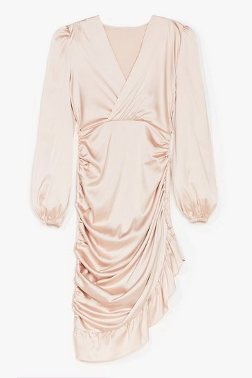 Nude Baby I Want You Ruched Mini Dress