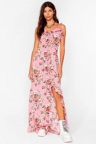 Rose Floral Frill Trim Slit Maxi Dress