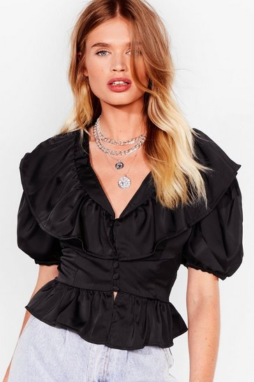 Black Time Frill Tell Satin Puff Sleeve Blouse