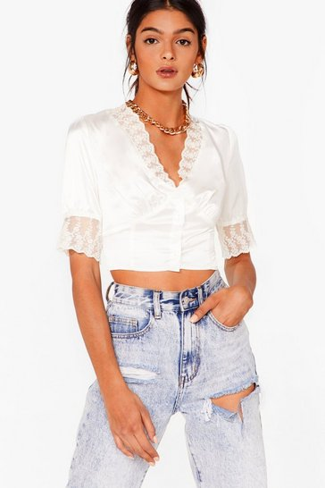 Cream Lacing Our Dreams Satin Crop Top
