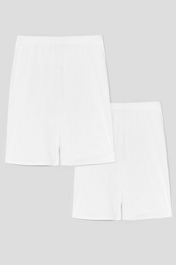 White Just How We Bike It 2-Pc Ribbed Biker Shorts