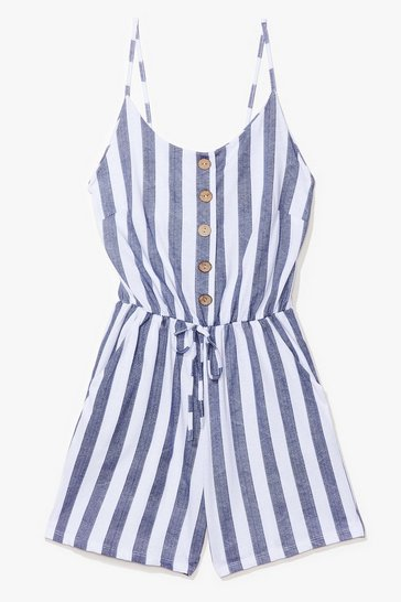 White Your Line to Shine Striped Romper