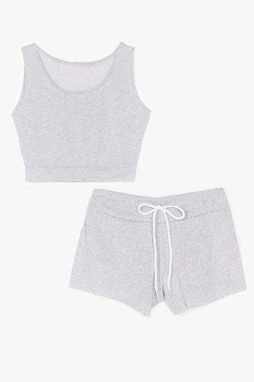 Grey You and Me Crop Top and Shorts Set